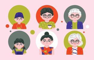 jeu d & # 39; icônes avatars de la famille vecteur