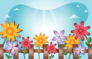 clôture en bois avec des fleurs et fond de ciel vecteur