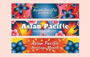 ensemble de modèles de bannière du mois du patrimoine asiatique du pacifique vecteur
