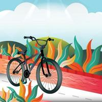 vélo dans le modèle de fond de parc vecteur