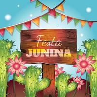 festa junina avec cactus et fleurs vecteur