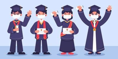 jeunes célébrant la remise des diplômes avec collection de protocoles vecteur