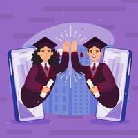 diplômé homme et femme high five virtuellement concept vecteur