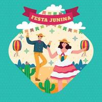 homme et femme dansent dans le concept de festival festa junina vecteur