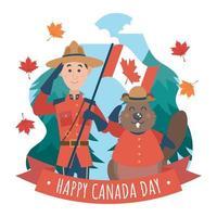 conception d'illustration de fête de la fête du canada vecteur