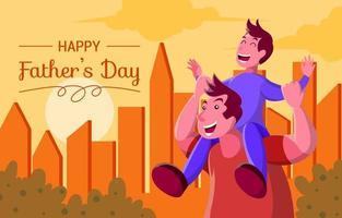 conception d'illustration moment heureux fête des pères vecteur