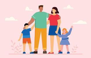 concept de personnage de famille heureuse vecteur