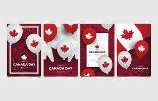 bonne fête du canada avec carte de voeux élément ballon vecteur