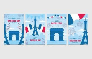 ensemble de cartes de voeux joyeux jour de la bastille vecteur