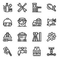 icônes de ligne outils mécaniques vecteur