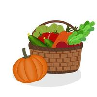 panier avec légumes produits bio vecteur