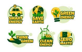ensemble d'autocollants clean eco greem technology vecteur