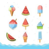 icône de nourriture d'été fraîche et fruitée vecteur