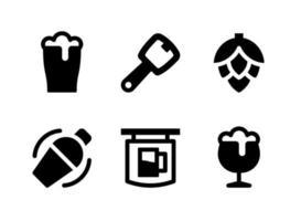 ensemble simple d'icônes solides vectorielles liées à la bière vecteur