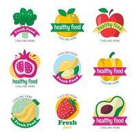 modèle de logo de nourriture saine et fraîche vecteur