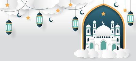 mosquée avec fond islamique de lanterne vecteur