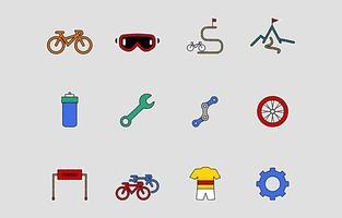 jeu d'icônes de vélo vecteur