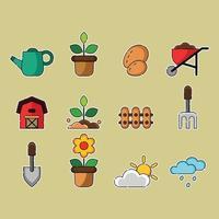 jeu d'icônes de jardinage vecteur