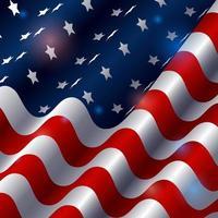 drapeau américain de beauté avec effet de lumière vecteur