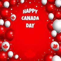 bonne fête du canada avec fond de ballons vecteur