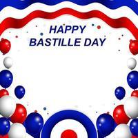 bonne fête de la bastille avec fond de ballons vecteur