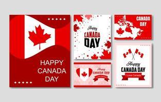collection de cartes de fête du canada vecteur