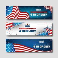 Ensemble de bannière du 4 juillet vecteur