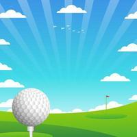 golf avec fond de paysage vecteur