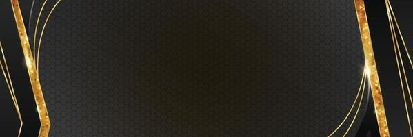 fond de bannière élégante noir et or vecteur