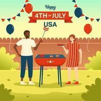fête de barbecue en famille le jour de l'indépendance vecteur