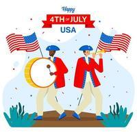 défilé commémorant et célébrant le jour de l'indépendance américaine vecteur