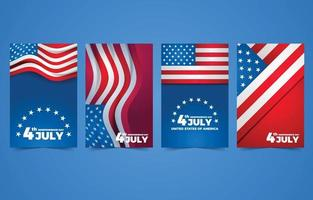 fête de l'indépendance du quatrième juillet avec collection de cartes drapeau américain vecteur