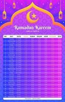 calendrier de modèle de ramadan vecteur