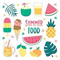 jeu d'icônes de nourriture d'été vecteur