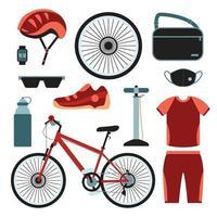 jeu d'icônes de vêtements de vélo vecteur