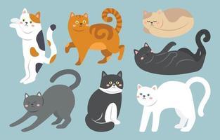 jeu de caractères de chat mignon vecteur