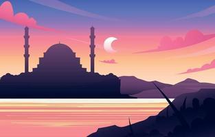fond de mosquée au coucher du soleil vecteur