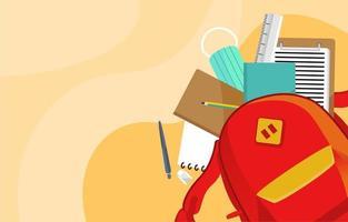 fournitures scolaires à l'intérieur du sac à dos vecteur