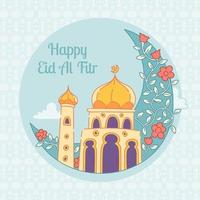 bonne mosquée eid mubarak vecteur