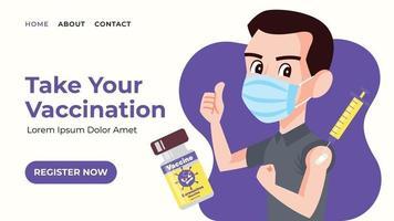 Homme portant un masque chirurgical montrant le pouce vers le haut après avoir été vacciné pour une bannière web vecteur