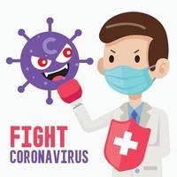 médecin portant un masque de protection chirurgicale et tenant un bouclier pour lutter contre le personnage de virus de dessin animé vecteur