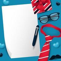papier blanc avec cravate, cadeau, lunettes et moustache pour la fête des pères vecteur