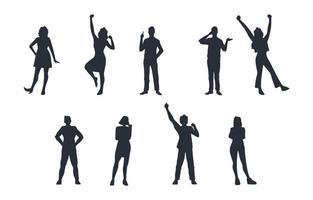 ensemble de silhouette de personnes adultes générales vecteur