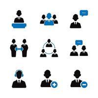 jeu d & # 39; icônes de gens d & # 39; affaires vecteur