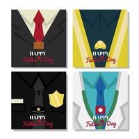 ensemble de cartes de fête des pères heureux vecteur