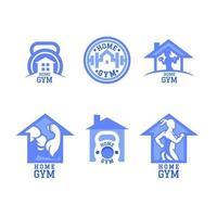 ensemble de logos de gym à domicile vecteur