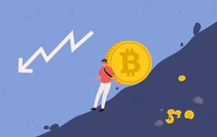 mineur essayant de retenir une grosse pièce de bitcoin de tomber vecteur