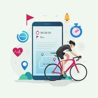 illustration vectorielle de cyclisme tracker app design concept vecteur