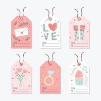étiquette de cadeau d'amour avec élément coloré et mignon vecteur