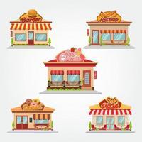 café boutique et restaurant bâtiment vector illustration design plat